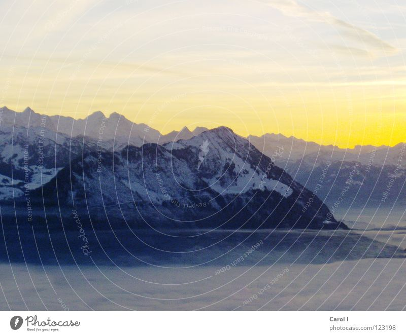 Queen of the Alps Rigi Lucerne Canton Schwyz Lake Lucerne Panorama (View) King Yellow Violet Sunset Mountain Twilight Evening Switzerland Fog Sea of fog