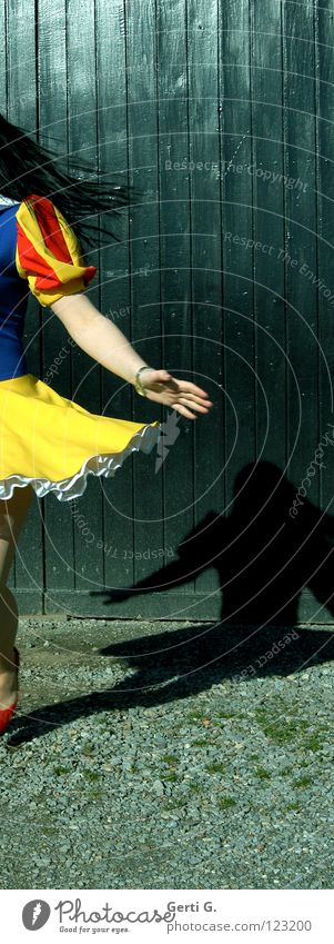 Woman Hand Girl Blue Red Joy Black Yellow Movement Hair and hairstyles Dance Arm Small Dress Gate Rotate
