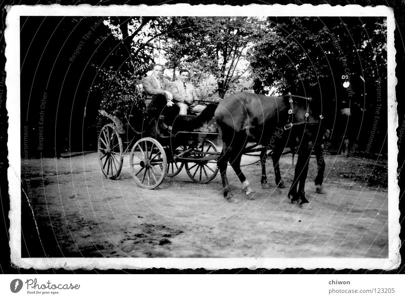 carless class Horse-drawn carriage Black White Village Carriage Wheels Transport Means of transport Highway Things no fine dust particles Old Scan