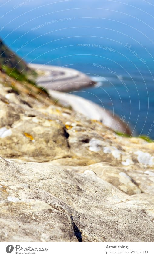 Rock-sea Environment Nature Landscape Water Summer Weather Beautiful weather Hill Waves Coast Ocean Mediterranean sea Tangiers Street Stone Tall Blue Brown