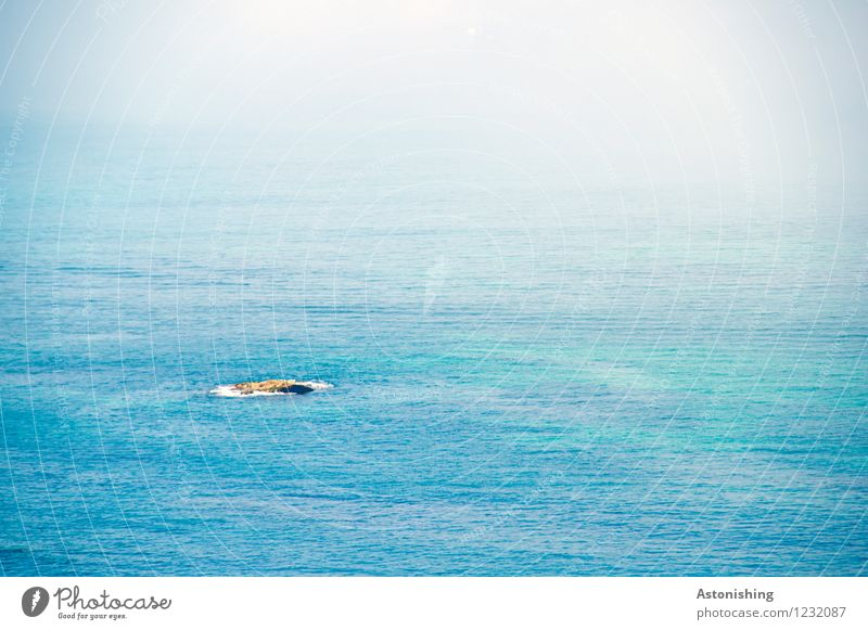 Nature Blue Summer Water Ocean Loneliness Landscape Far-off places Environment Small Rock Weather Waves Island Hill Mediterranean sea