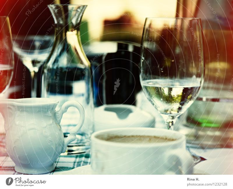 SummerLunch Nutrition Beverage Crockery Glass Authentic Relaxation To enjoy Cup Milk churn Decanter Colour photo Exterior shot Deserted Shallow depth of field