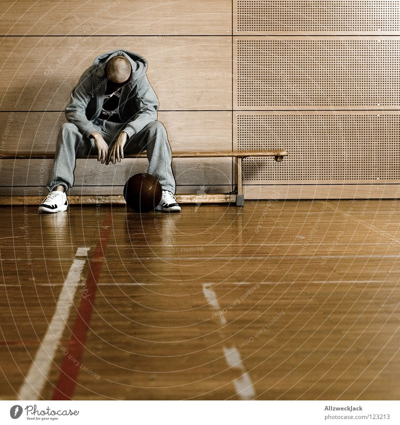 Man Loneliness Sports Playing Sadness Think Sportsperson Wait Sit Ball Bench Anger Distress Boredom Warehouse Doomed
