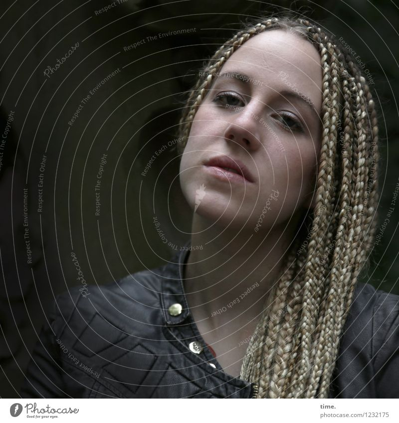 . Feminine Woman Adults 1 Human being Jacket Hair and hairstyles Blonde Long-haired Dreadlocks Observe Think Looking Wait Dark Beautiful Self-confident
