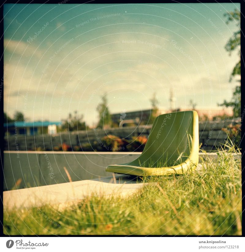 sun deck Relaxation Summer Chair Energy industry Spring Grass Concrete Natural Positive Beautiful Environment Medium format Seating pentacon six UV Statue
