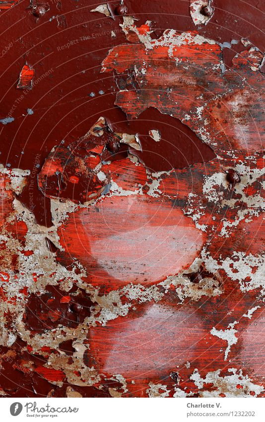 see red Metal Old Illuminate Broken Trashy Brown Gray Red Esthetic Bizarre Chaos Surrealism Decline Destruction Flake off Dye amorphous Formation Colour field