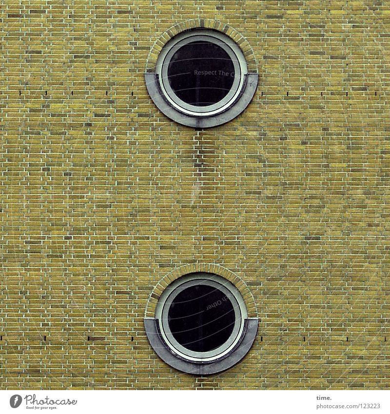 The round in the square (III) Wall (barrier) Wall (building) Brick Window Porthole Harbor city Flat (apartment) Staircase (Hallway) Mortar Manmade structures