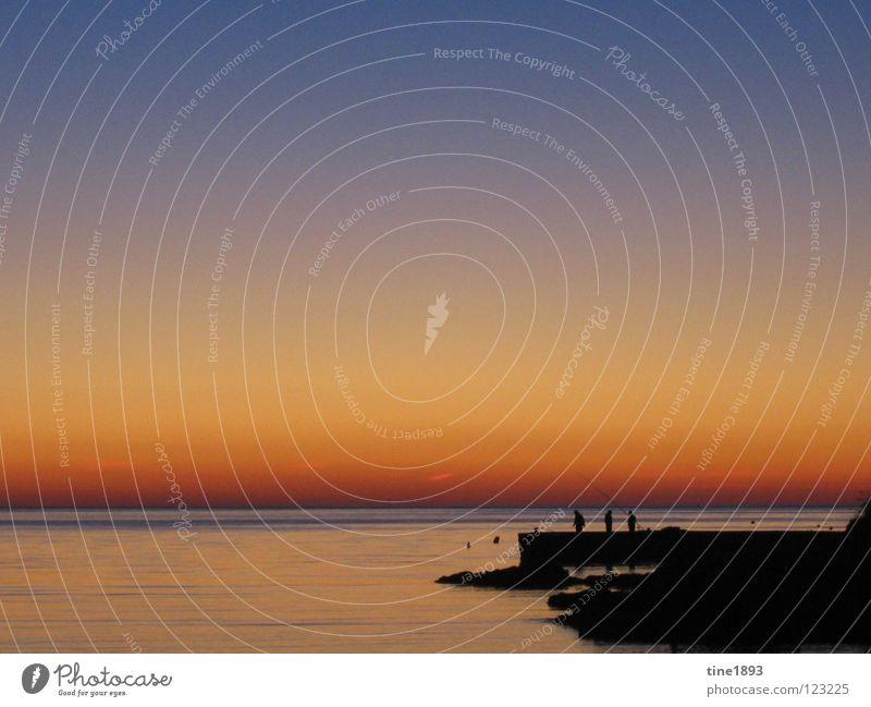 Beautiful Sun Ocean Summer Joy Calm Loneliness Freedom Happy Warmth Moody Physics Fishing (Angle) Dusk Feeble Mediterranean sea
