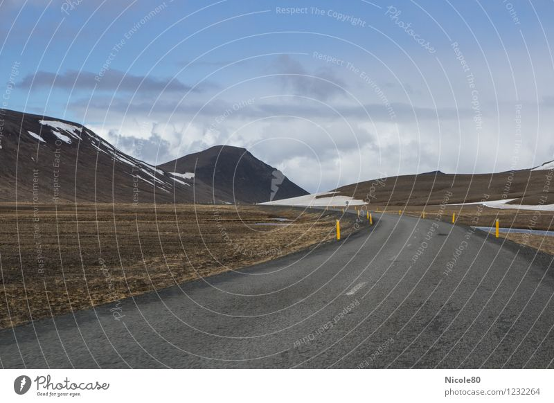 Iceland 15/3 - RingRoad Loneliness Beach Mountain Freedom Asphalt Nature Colour photo Exterior shot Deserted Day