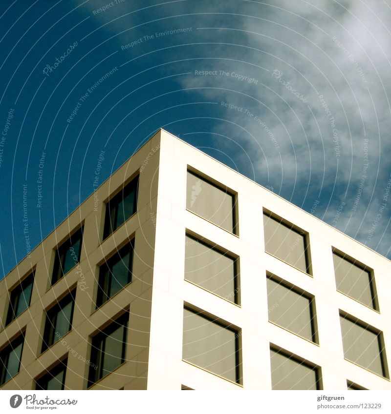 Sky Blue Window Work and employment Facade Modern Square Cube Office building Venetian blinds Three-dimensional