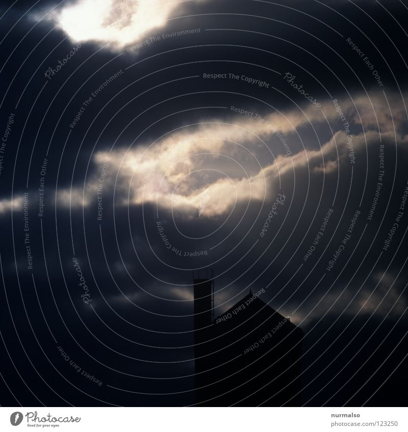 Blue Black Clouds Loneliness Dark Emotions Gray Dream Building Rain Moody Fear Architecture Island Film industry Tower
