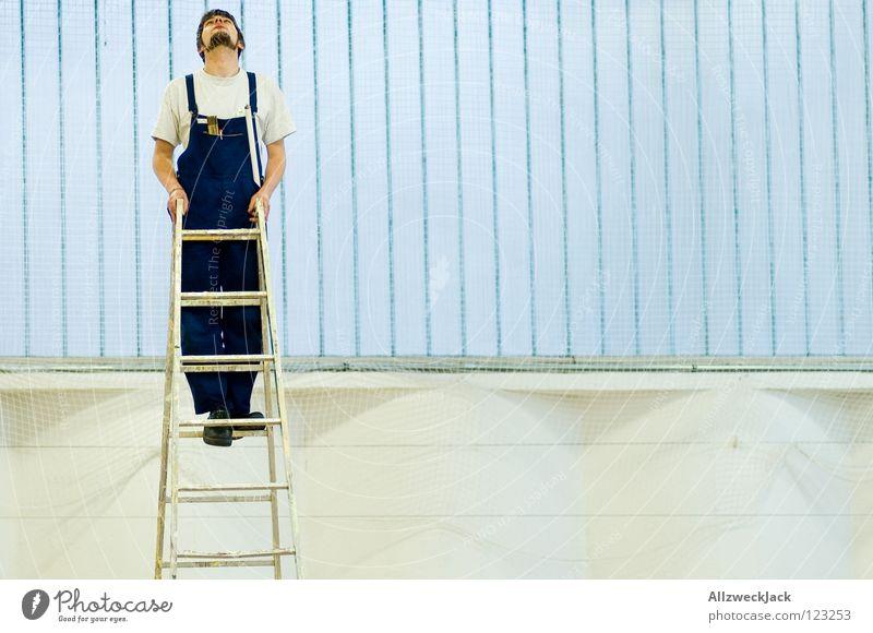 Man Work and employment Above Window Search Tall Climbing Curiosity Craft (trade) Ladder Warehouse Career Half Go up Craftsperson Repair