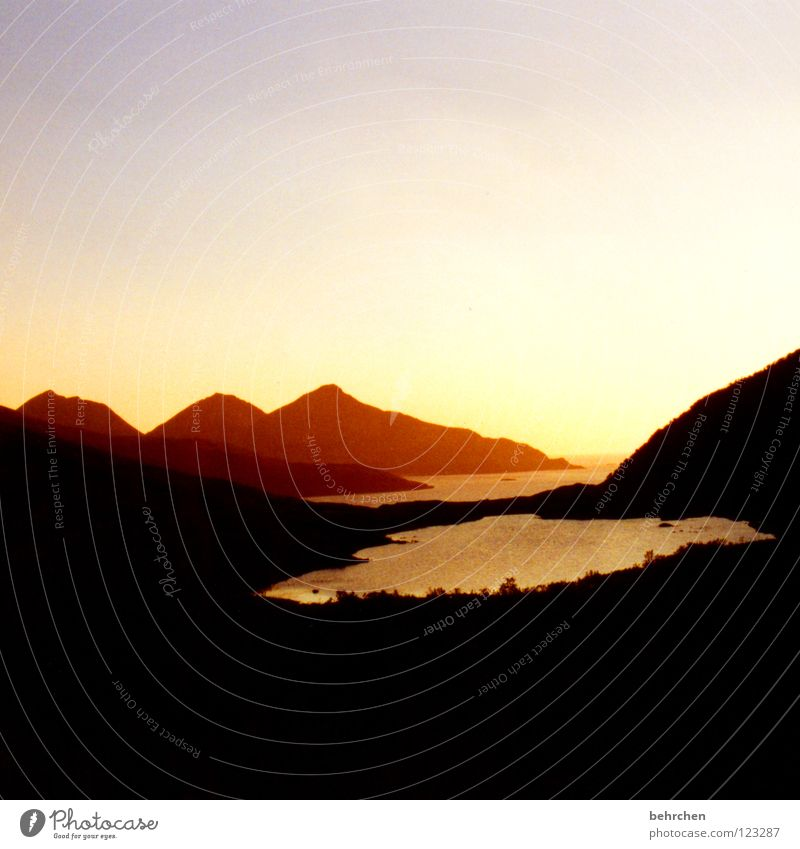 fjord romance Norway Sunset Romance Dream Vacation & Travel Mysterious Light Calm Loneliness Celestial bodies and the universe Mountain Fjord Water Evening