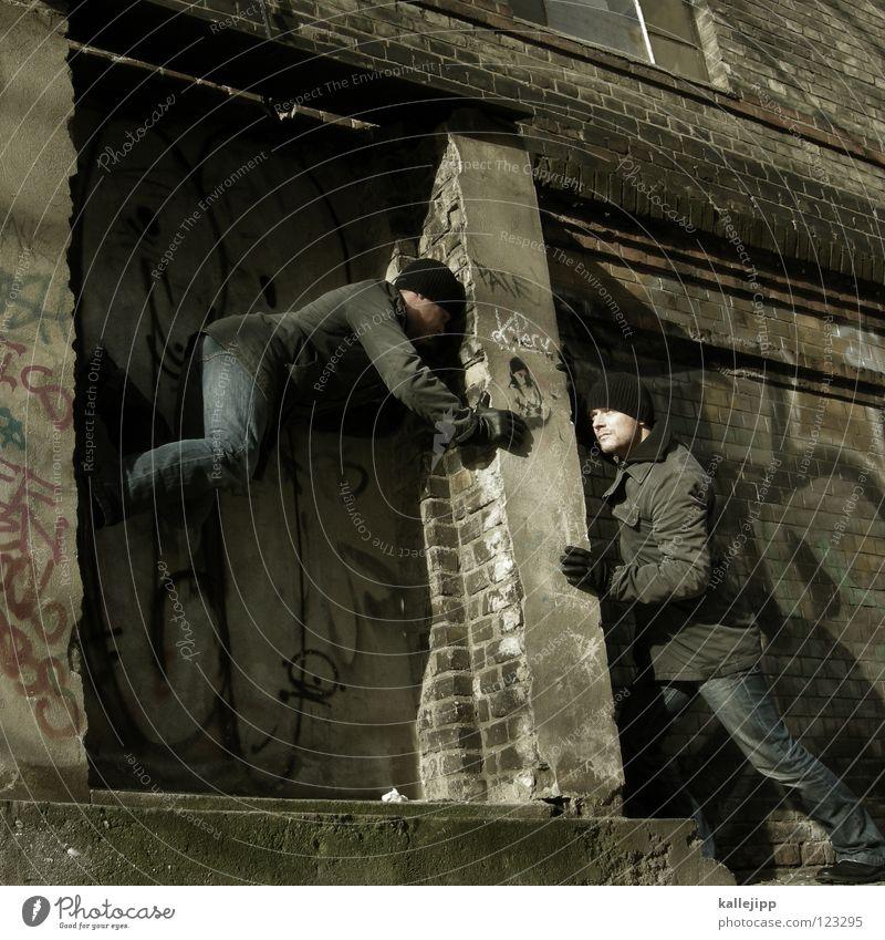 succor Man Silhouette Thief Criminal Ramp Loading ramp Pedestrian Shaft Tunnel Subsoil Outbreak Escape Tumble down Window Parking garage Geometry Back-light