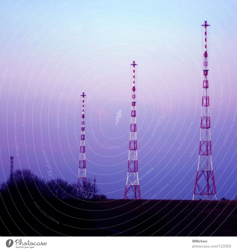 On the air Transmitting station Television Pastel tone Sky blue Dark 3 Tree Bushes Field Vantage point Cold Sunrise Media Landscape Tower Radio (broadcasting)