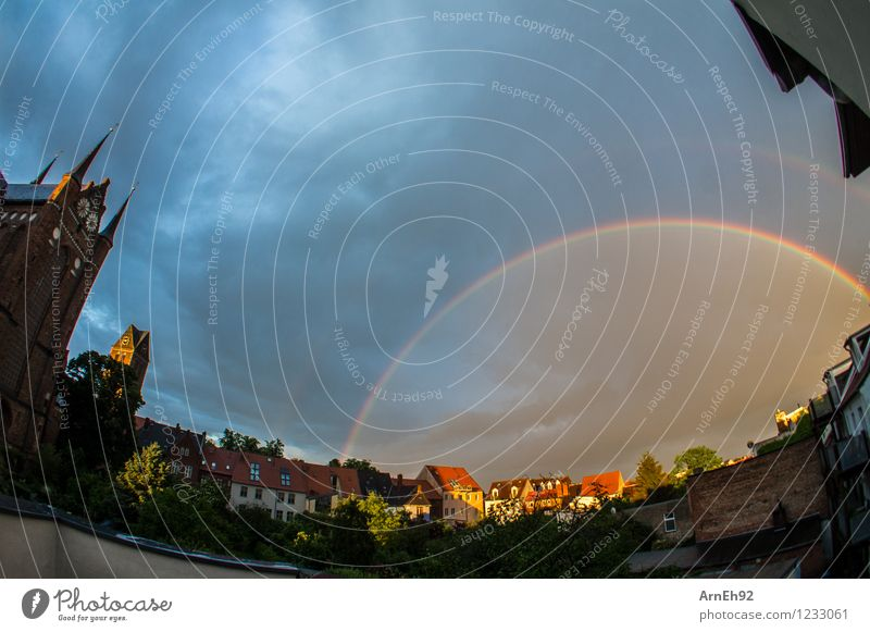 rainbow Clouds Sun Summer Rain Rainbow Prismatic colors Wismar Small Town Downtown House (Residential Structure) Church Courtyard Esthetic Fantastic Wet