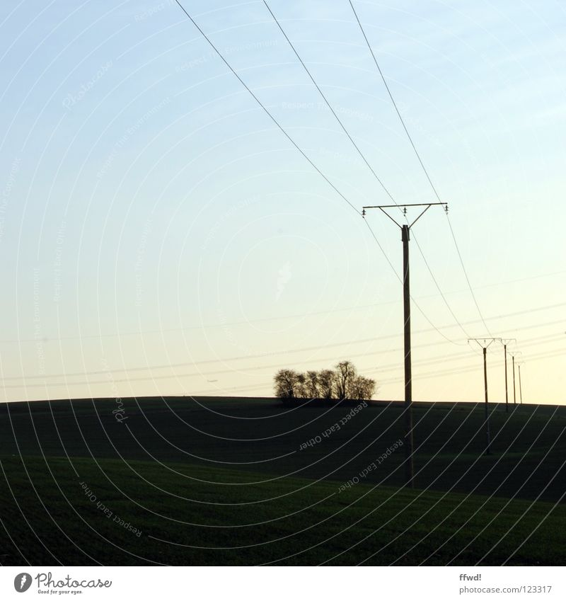 voltage Field Electricity Electricity pylon Electrical equipment Technology Cable Transmission lines Landscape Nature Perspective