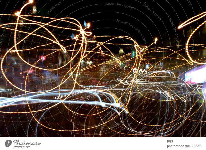 Drunken #2 Prague 2008 Wenceslas Square Alcohol-fueled Long exposure Stagger Zigzag Muddled Chaos Intoxicant Intoxication Disco Tracer path Aimless Transport