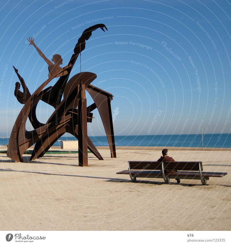 MONISM - DUALISM Difference Equal Identical Match Analog Similar Roughly High diving Ocean Beach Flagpole Sunglasses Brown Sculpture Monument Barcelona Summer