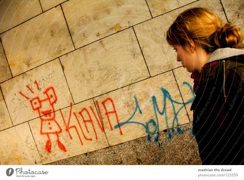 KLAVA Woman Feminine Upper body Blonde Looking Evaluate Fleeting Wall (building) Yellow Red Tin Spray Stick figure Daub Art Loneliness Cold Style Youth culture