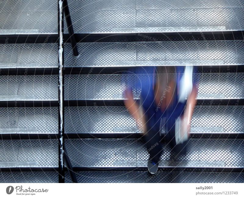 speed control Masculine Young man Youth (Young adults) 1 Human being Staircase (Hallway) Banister Movement Going Walking Running Speed Stress Resolve Downward