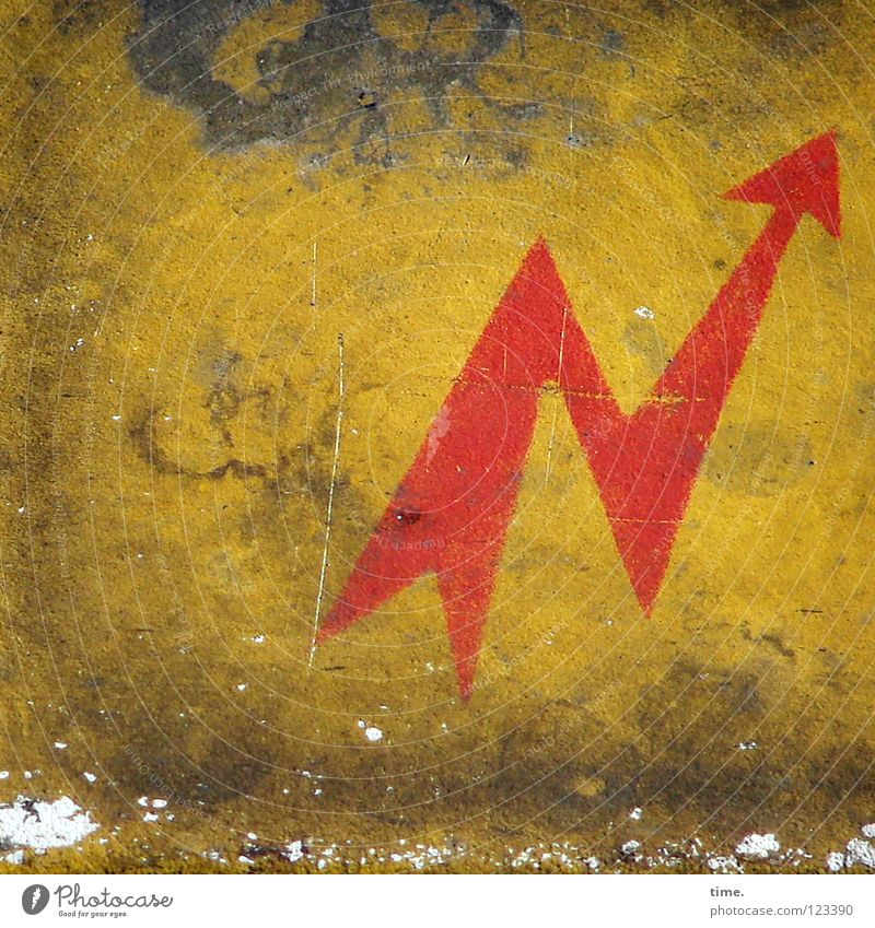 Exciting detours also lead to the goal Electricity Yellow Red Tin Dirty Fatigue Scratch mark Dust Symbols and metaphors Public service Signage Concentrate