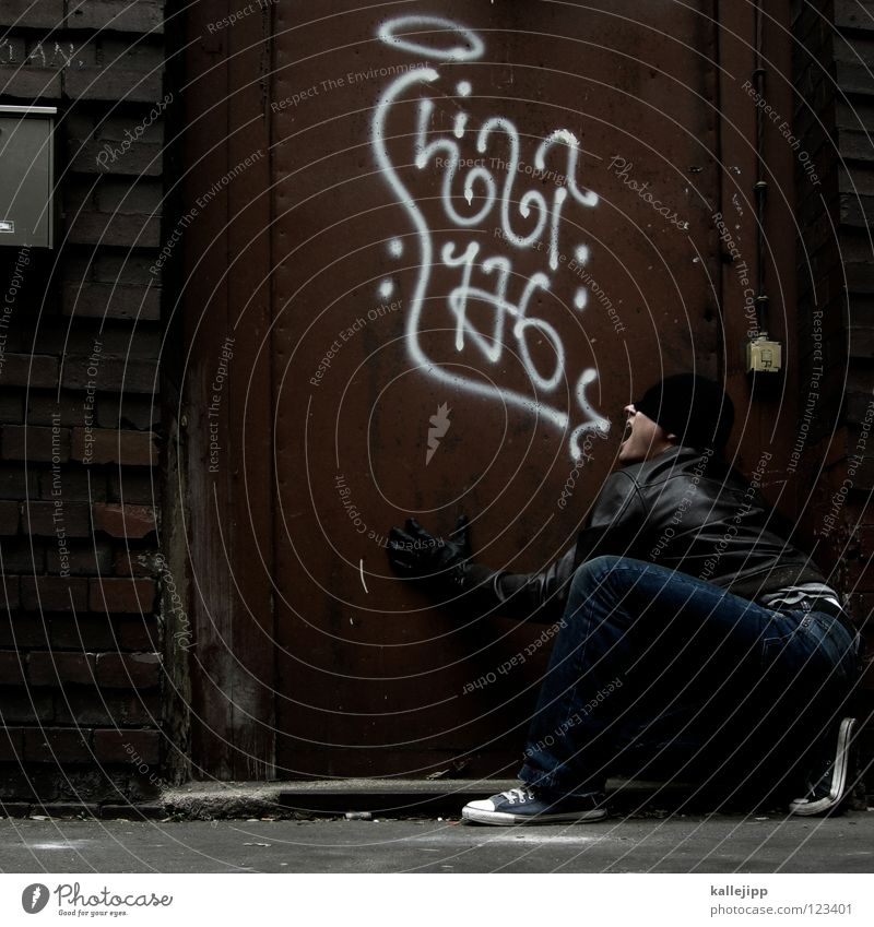 Human being Man Blue White Hand Red Calm Joy Cold Wall (building) To talk Graffiti Emotions Funny Wall (barrier) Art