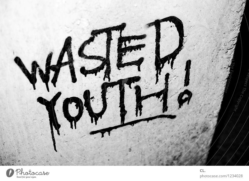 wasted youth Youth culture Subculture Wall (barrier) Wall (building) Stone Characters Graffiti Authentic Dirty Anger Frustration Aggression Disappointment