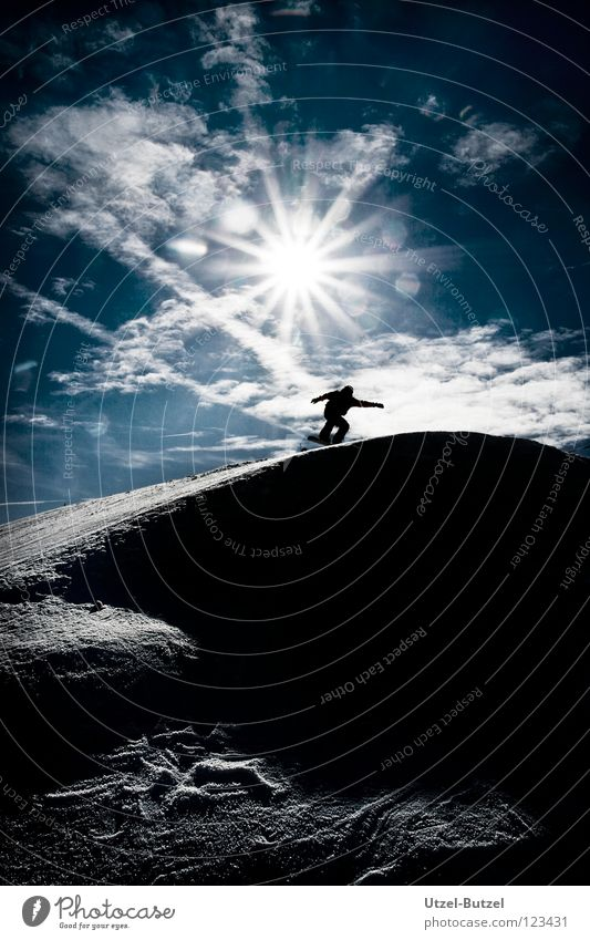 Sky Youth (Young adults) Blue Sun Joy Clouds Calm Snow Playing Freedom Happy Friendship Action Infinity Harmonious Snowboard