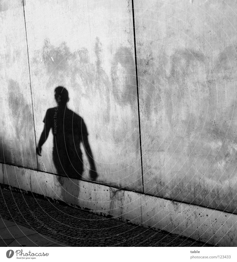 single Light Evening sun Man Concrete Wall (barrier) Wall (building) Gray Town House (Residential Structure) Upper body Sidewalk Shadowy existence Shadow play