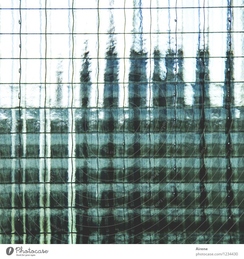 AST 7 Pott   Power fluctuations Facade Pane Ribbed glass Safety glass Partition wall Glass Metal Line Network Green Black Turquoise Unclear Invisible Blur