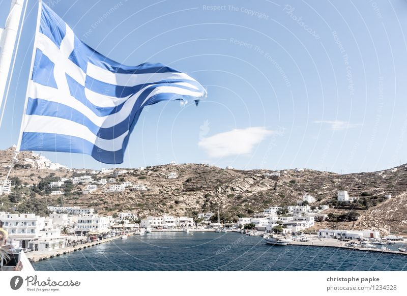 With waving flags Vacation & Travel Cruise Summer Summer vacation Ocean Sky Cloudless sky Beautiful weather Warmth Coast Bay Cyclades Greece Village