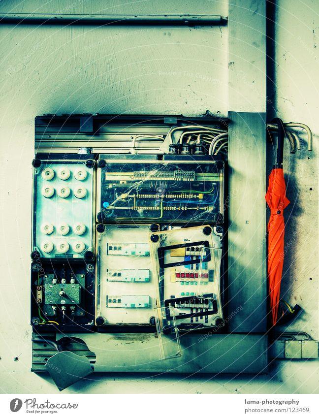 Old Bright Orange Dangerous Illuminate Electricity Planning Cable Threat Technology Protection Umbrella Warning label Box Sunshade Testing & Control