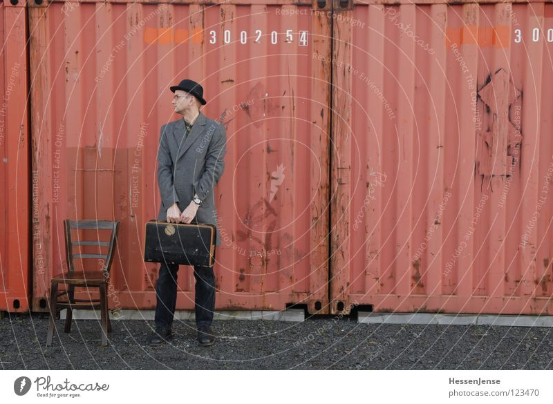 Red Loneliness Time Characters Wait Hope Chair Furniture Hat Boredom Suitcase Freeze God Coat Divide Container