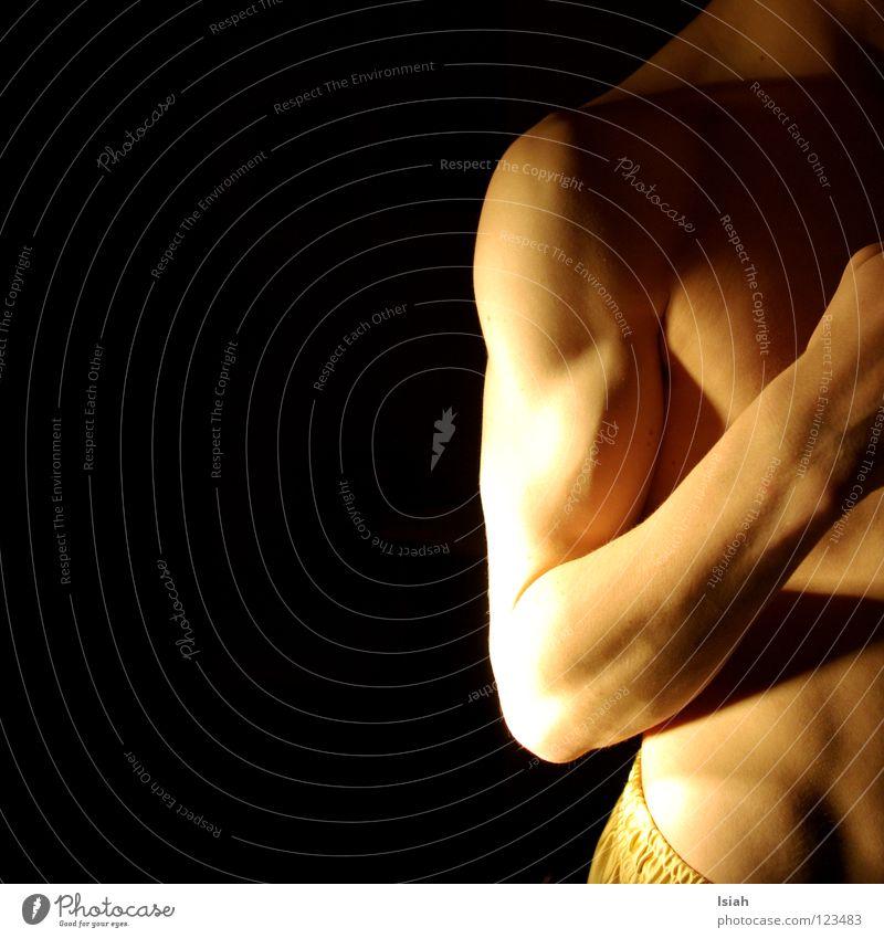 show the cold shoulder Light Black Dark Man Fine Power Force Skin golden basketshorts Arm Musculature Basin Stomach boy Body Neck Nerviness