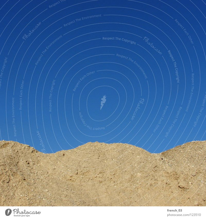 up and down Round Hill Cyan Gravel Empty Minimal Above Light Sky blue Caution Incline Corner Mountain Stone Minerals Sand Blue Beautiful weather hunchbacked