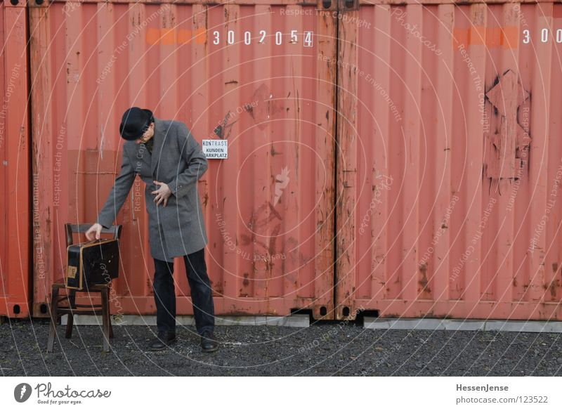 Red Loneliness Time Transport Characters Wait Hope Chair Hat Boredom Suitcase Freeze God Coat Divide Container