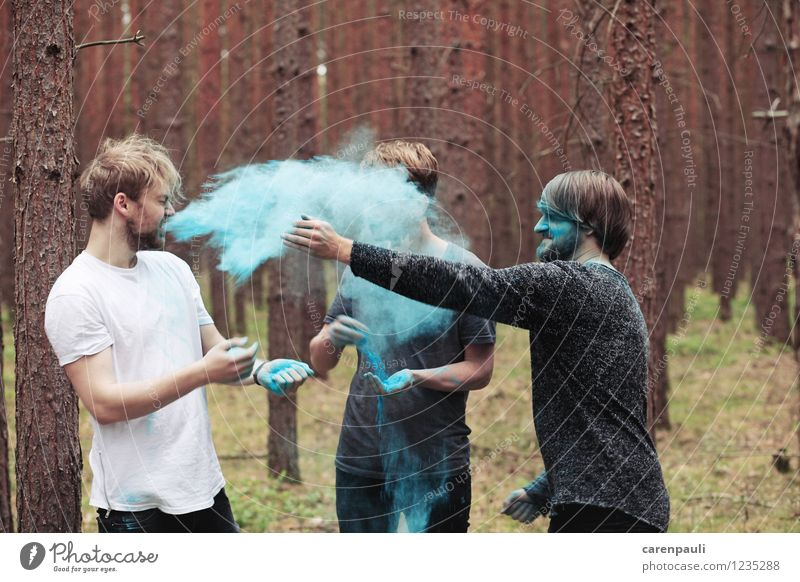 color bomb Human being Masculine Friendship 3 Group 18 - 30 years Youth (Young adults) Adults Band Nature Tree Moss Forest Brunette Blonde Movement Laughter