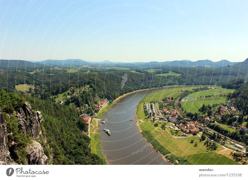 Elbeufer - Saxon Switzerland, Elbe Sandstone Mountains Hiking Landscape Water Sky Cloudless sky Horizon Sunlight Summer Beautiful weather Meadow Field Forest