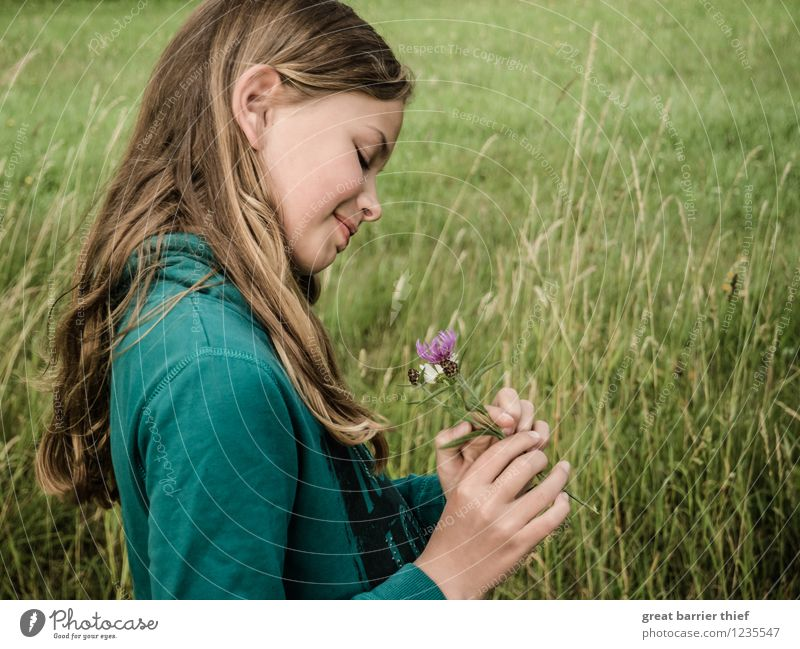 Human being Child Nature Plant Green Summer Landscape Animal Girl Face Environment Blossom Meadow Feminine Hair and hairstyles Head
