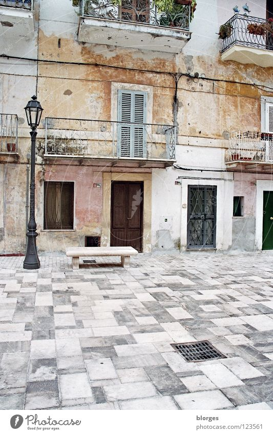 House (Residential Structure) Loneliness Wall (building) Gray Stone Brown Pink Bench Italy Lantern Balcony Turquoise Traffic infrastructure Markets Marketplace Afternoon