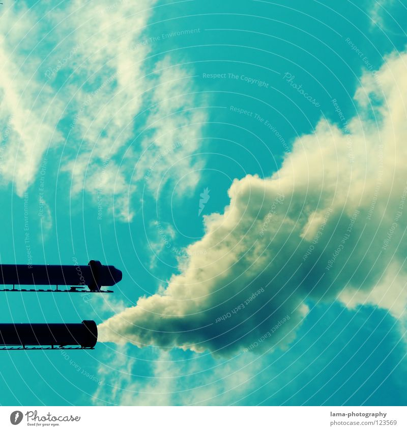 Sky Clouds Environment Industry Hot Smoke Radiation Exhaust gas Chimney Environmental pollution Steam Shot Shoot Cannon Ozone