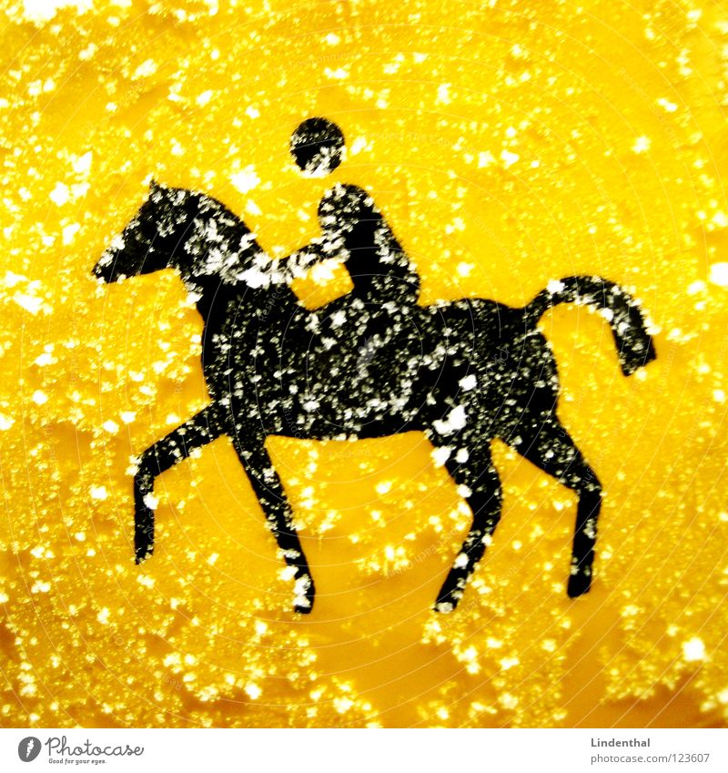 horse rider Horse Symbols and metaphors Logo Graphic Traffic light Door opener Switch Yellow Express train Signage Mammal Street sign Rider Illustration