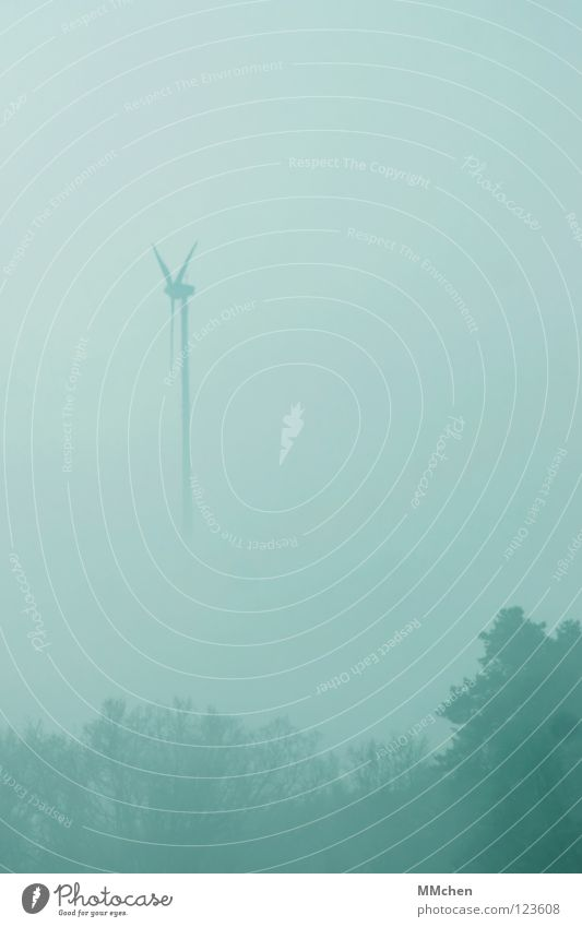 Sky Blue White Tree Winter Dark Cold Weather Fog Energy industry Bushes Gloomy Wind energy plant Hide Dew