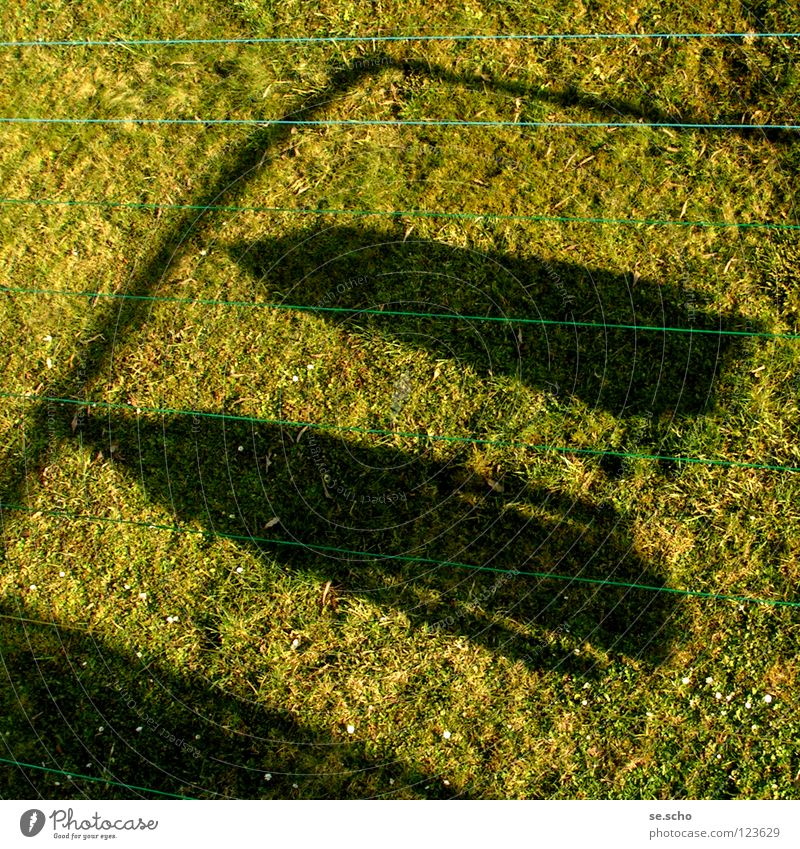 """Hanged"" Meadow Green Hang up Laundry Grass Jacket Household Rope Shadow Sun View from the window View from a window"