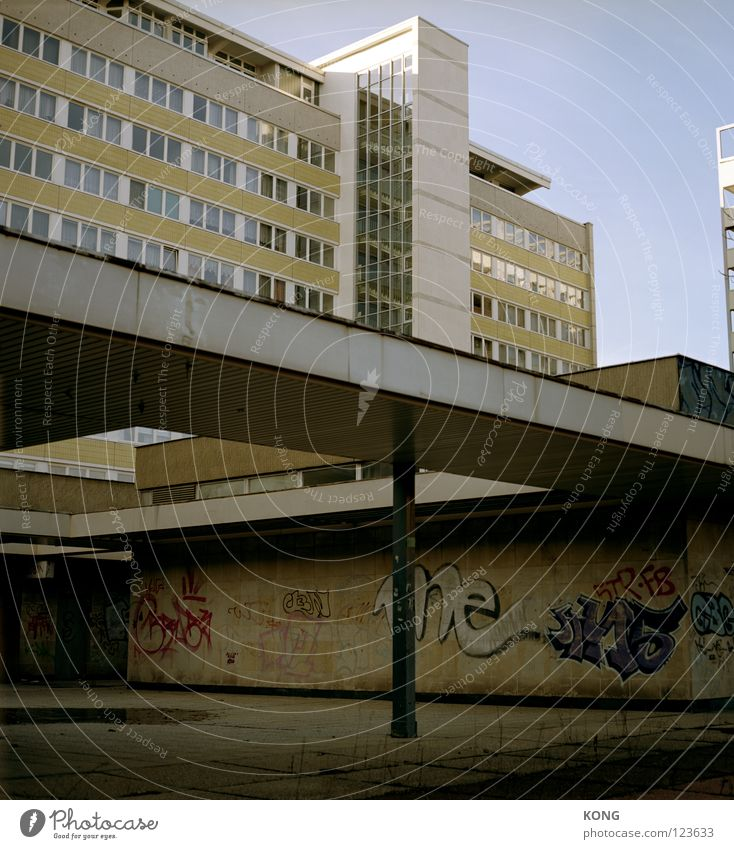 Sky City House (Residential Structure) Window Building Graffiti Flat (apartment) Concrete High-rise Gloomy Monument GDR Shabby Geometry Block