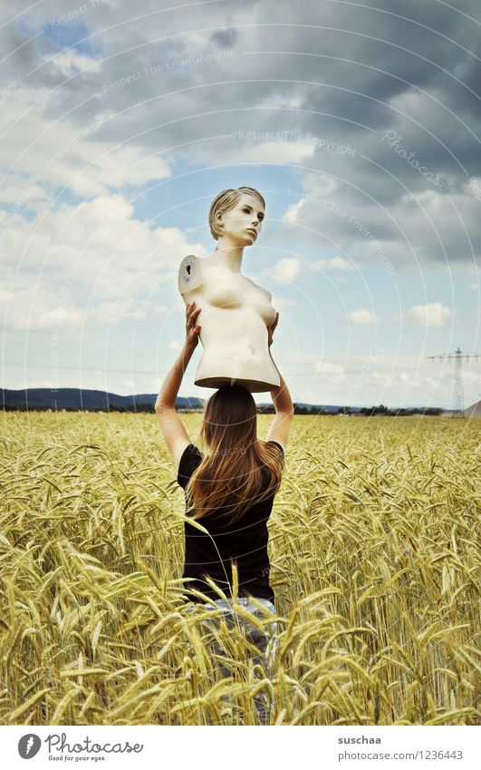 she looked ... and looked ... and looked ... Sky Clouds Field Wheat Ear of corn Summer Landscape Face Head Torso Mannequin Child Girl Carrying To hold on Lift