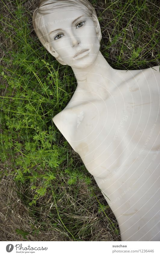 There she lay in the grass. Grass Green Doll Mannequin without arms Naked Breasts Face Model False