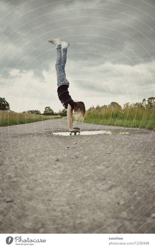 the handstand ... Lanes & trails Asphalt Exterior shot Footpath Puddle Wet Child Girl Handstand Athletic Skateboarding Stunt Dangerous Brave Infancy Freedom