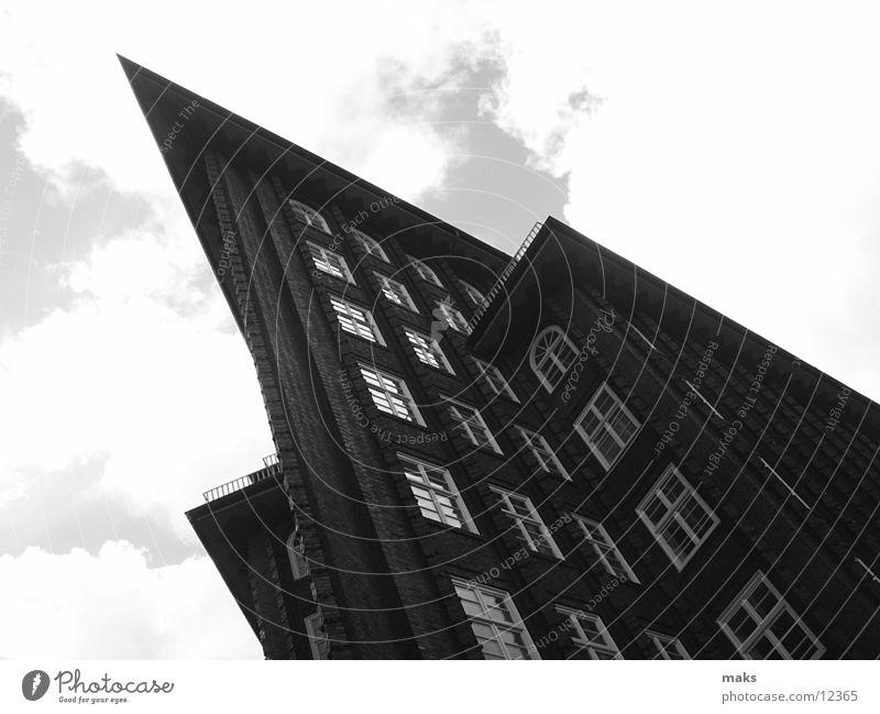 chile house Gray Gray scale value Clouds Brick Architecture Hamburg Black & white photo Sky Stone
